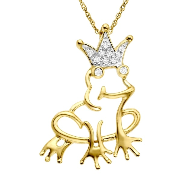Frog Prince Pendant with Diamonds in 14K Gold