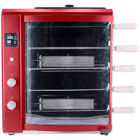Brazilian Flame Brazilian Gas Rotisserie Grill with 5 Skewers, Red