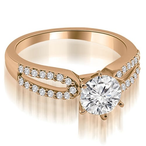 0.75 cttw. 14K Rose Gold Exquisite Split Shank Round Diamond Engagement Ring