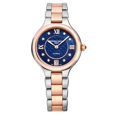 Frederique constant women's fc-306nhd3er2b 'delight' blue mother of pearl dial two tone automatic watch