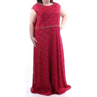 ALEX EVENINGS $229 Womens 1382 Red Floral Lace Glitter Dress 24W Plus B+B