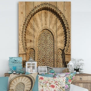 Link to Designart 'Morocco Mosque Door' Vintage Print on Natural Pine Wood - Multi-color Similar Items in Wood Wall Art