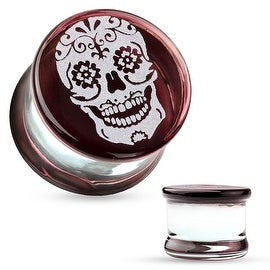 Sugar Skull Engraved Face Pyrex Glass Saddle Plug (Sold Individually)