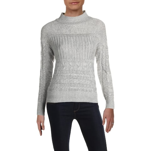 Aqua Womens Pullover Sweater Cable Knit Ribbed Trim - Gray