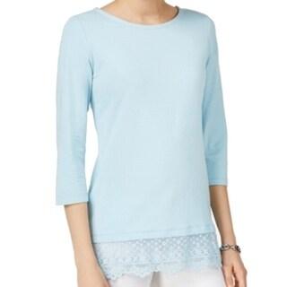 Tommy Hilfiger NEW Porcelain Blue Womens Size Large L Lace-Hem Knit Top