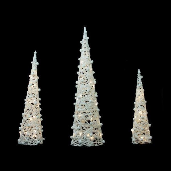 """Set of 3 Battery Operated White and Silver Glittered LED Lighted Cone Tree Christmas Decoration 39.25"""""""