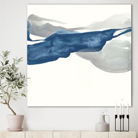 Designart 'Gouache Sapphire on Gray II' Modern & Transitional Gallery-wrapped Canvas