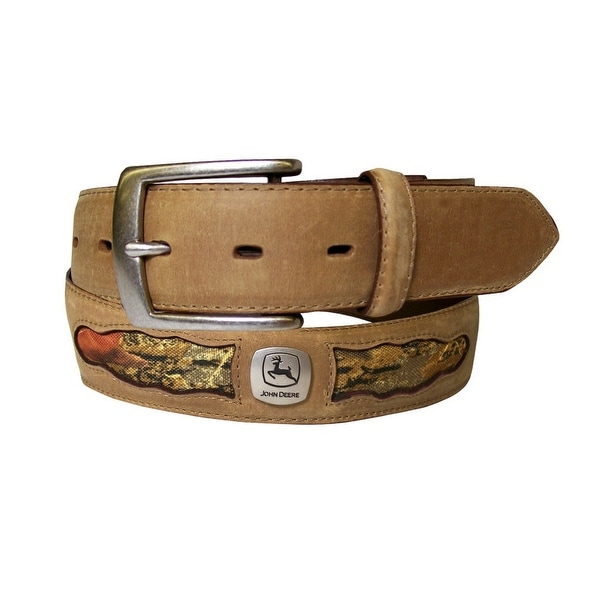 John Deere Western Belt Mens 38MM Camo Cutouts Logo Tan
