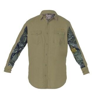 Men's Long Sleeve Button Front Woven Shirt Color Blocked