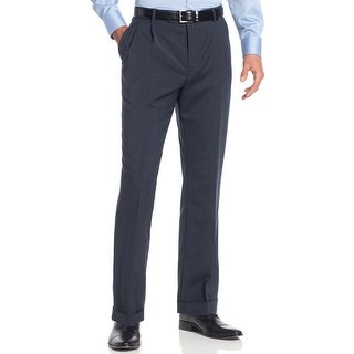Nautica Anchor Navy Blue Glen Plaid Dress Pants Double Pleated Front Cuffed
