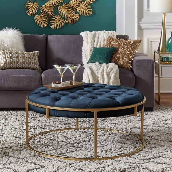 Perdita Gold Finish Velvet Round Tufted Cocktail Ottoman By Inspire Q Bold On Sale Overstock 31302701