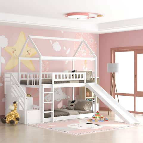 Wood White House Bed with Slide,Twin Over Twin Bunk Bed