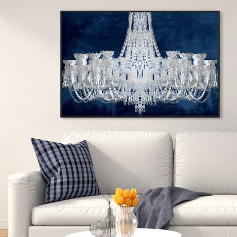 Oliver Gal 'Royal Gala Night Silver' Fashion and Glam Wall Art Framed Canvas Print Chandeliers - Gray, Blue
