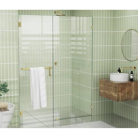"""Glass Warehouse 78"""" x 59.25"""" Frameless Towel Bar Shower Door - Wall Hinge"""