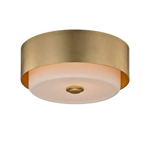 Troy Lighting Allure 2-light Gold Leaf Round Flush Mount