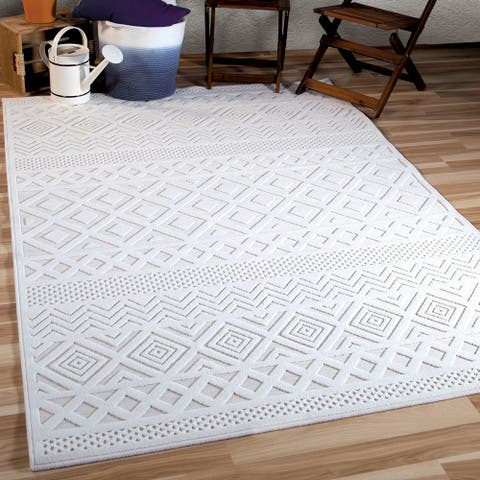 Orian Boucle All Day Crochet Natural Area Rug (5' x 7') - 5' x 7'