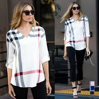 Roll-Tab Plaid Print Blouse