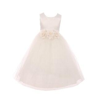 Kids Dream Little Girls Ivory Floral Satin Illusion Flower Girl Dress
