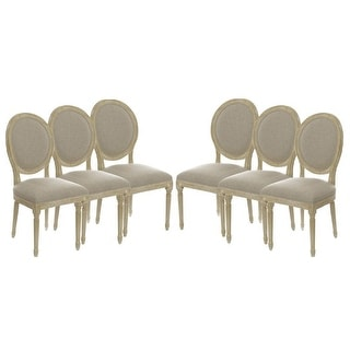 Set of 6 Vintage French Round Upholstered Side Dining Chairs
