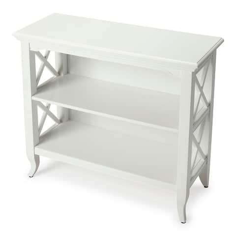 Offex Newport Glossy White Low Rectangular Bookcase
