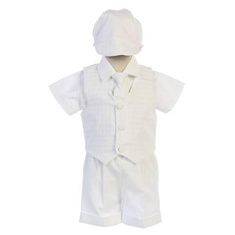Swea Pea & Lilli Baby Boys White Plaid Vest Cotton Shorts Baptism Set