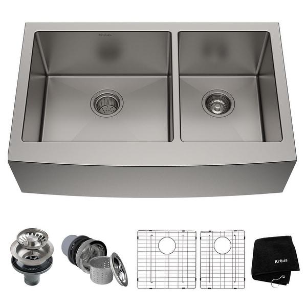 KRAUS Standart PRO Stainless Steel 36 in 2-Bowl Farmhouse Kitchen Sink. Opens flyout.