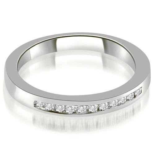 0.15 cttw. 14K White Gold Classic Channel Round Cut Diamond Wedding Band