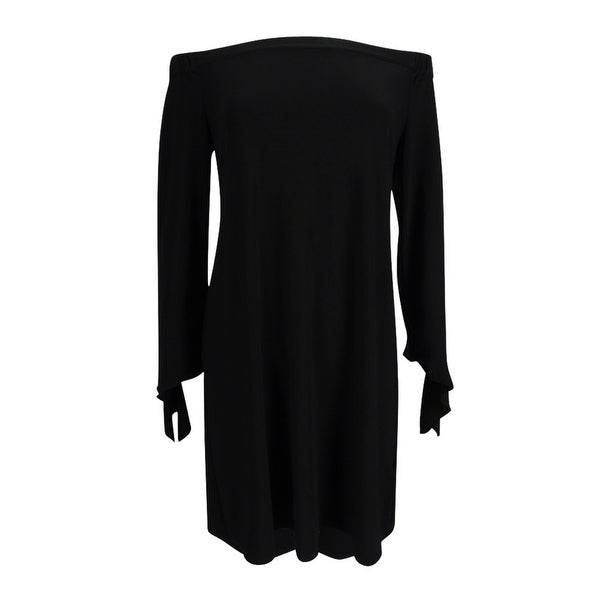 5fa37c9ed7e Shop American Living Women's Off-The-Shoulder Dress - Black - On Sale - Free  Shipping On Orders Over $45 - Overstock - 19887589