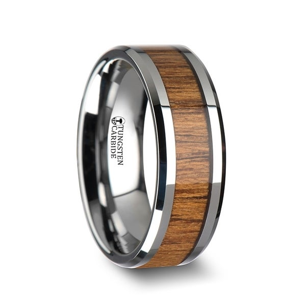 Tekku Wood Tungsten Ring With Polished Bevels And Teak Wood Inlay