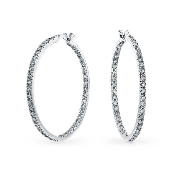 8dcf17495f127 White Cubic Zirconia Pave Thin Inside Out Big Hoop Earrings For Women For  Prom Silver Plated Brass 1.75 Inch