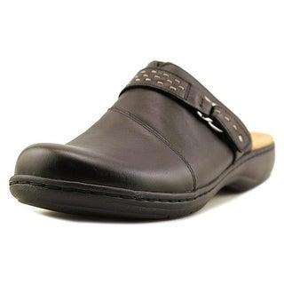 Clarks Narrative Leisa Sadie Women Round Toe Leather Black Mules (Option: Work Clogs)