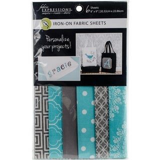 """Fabric Editions Fusible Sheets 8""""X9"""" 6/Pkg-Gray & Turquoise"""