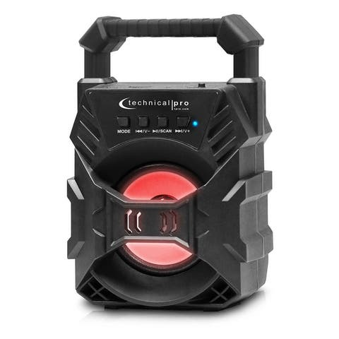 Technical Pro Portable Rechargeable LED Bluetooth (30Ft range) Speaker with 3 Woofer, USB/FM/TF, Handle, Black.