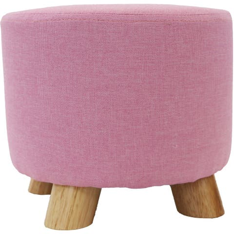Critter Sitters 10-Inch Pink Upholstered Mini Foot Stool with Wooden Legs