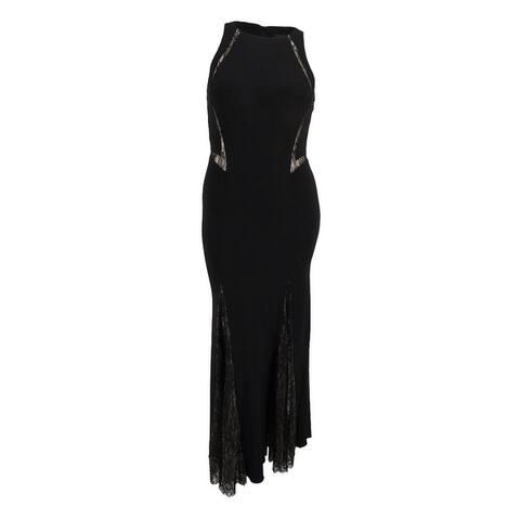 Xscape Women's Illusion Lace-Trim Mermaid Gown - Black/Nude