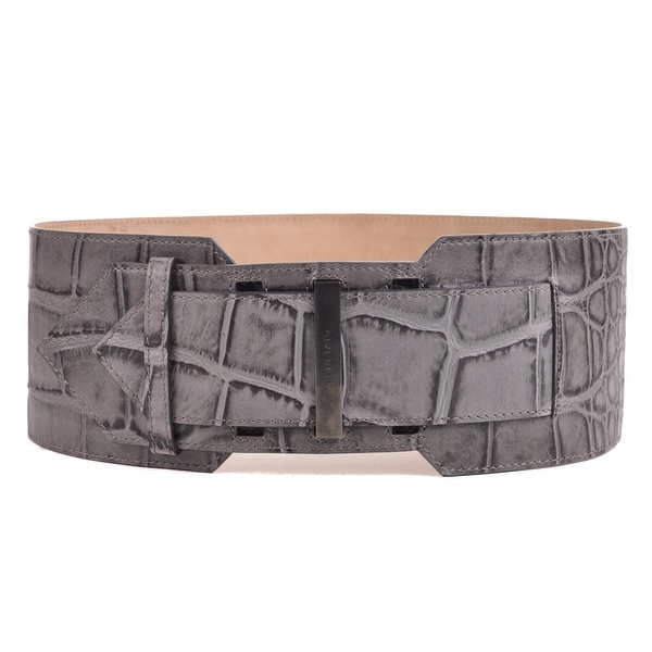 Givenchy Womens Gray Leather Croc Embossed Waist Belt