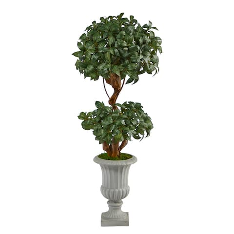 """51"""" Sweet Bay Double Ball Topiary Artificial Tree in Decorative Urn - 16.5"""""""