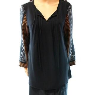 Alfani NEW Black Houndstooth Women's Size 12 Tie-Neck Pintucked Blouse