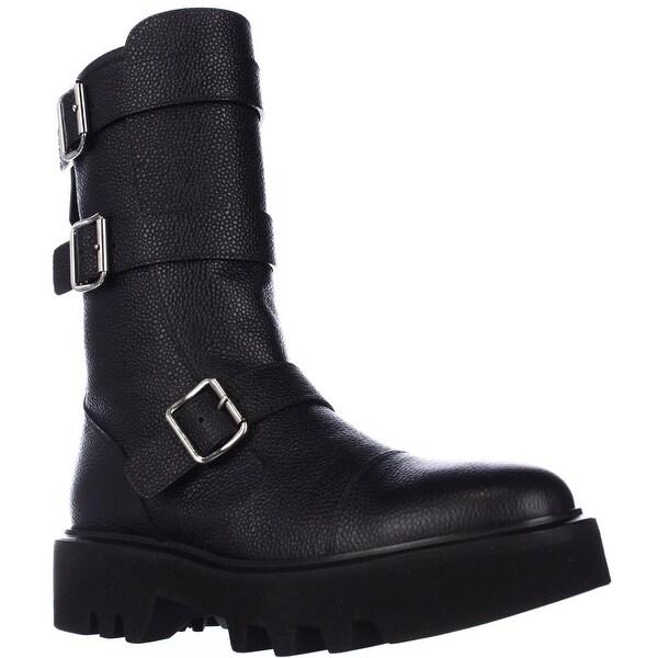 Kalliste 5110 Lug Sole Mid Calf Buckled Combat Boots - Black - 7.5 us / 38 eu
