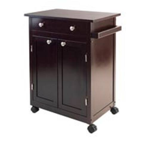 """34"""" Brown Kitchen Cart with Drawer and Two Doors"""