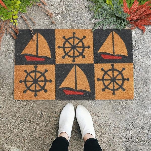 "GAURI KOHLI Natural Coir Doormat Nautical Wheel Sailboat (30"" X 18""). Opens flyout."