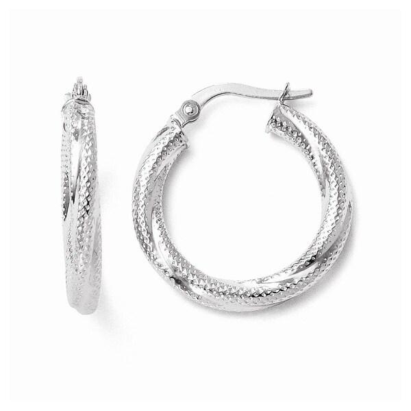 Italian 10k White Gold Textured Hinged Hoop Earrings