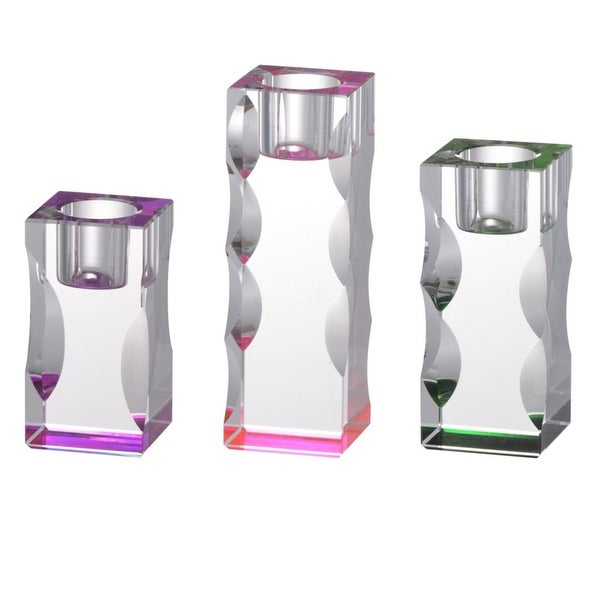 """Set of 3 Pink and Green Callie Candle Holders 5.75"""" - N/A"""