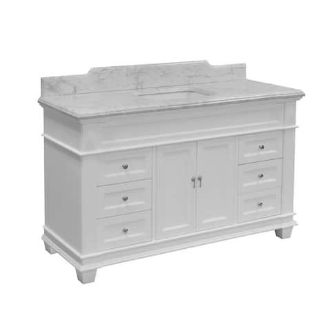 "KitchenBathCollection Elizabeth 60"" Single Bathroom Vanity with Carrara Marble Top"