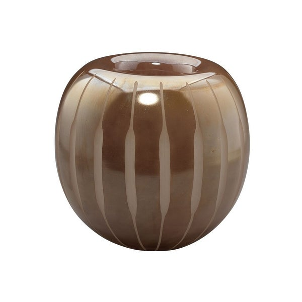 "7"" Mauve Etched Lines Medium Mid-Century Glass Vase - N/A"