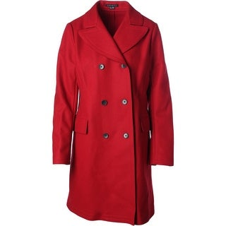 Theory Womens Wool Blend Double Breasted Pea Coat - L