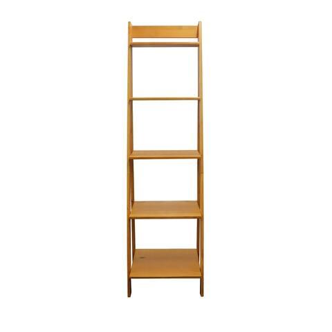 Adeptus Solid Wood 5 Shelf Ladder Bookshelf Medium Pine