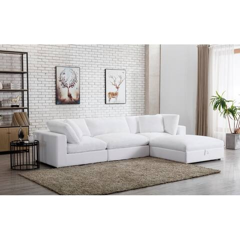 Rivas Contemporary Feather Fill 4-Piece Modular Sectional Sofa