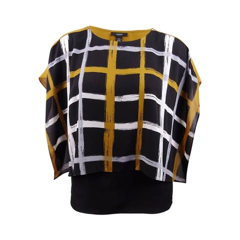 Alfani Women's Plus Printed Layered-Look Poncho Top - Brushstroke Plaid