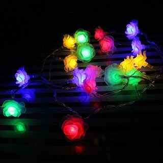 Rose Battery Operated LED Christmas String Lights - RGBY, 2 Work Modes, 7.3ft Length, 20pcs Flowers for Christmas, Holiday